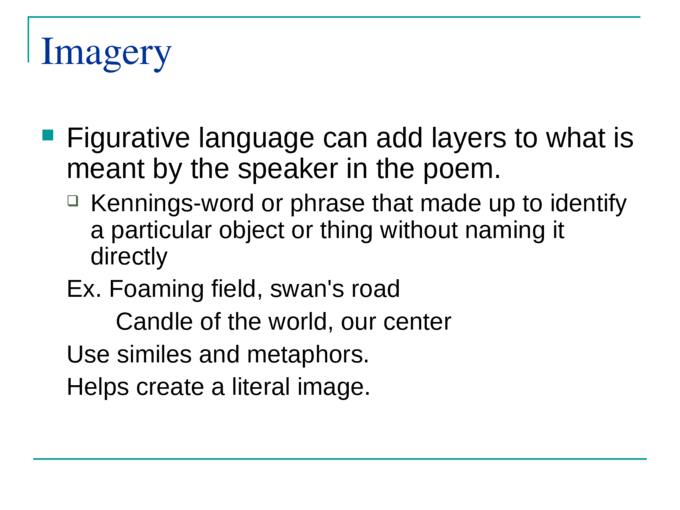 Studying Poetry. THE POEM Content Imagery RhythmRhymeDictionVoice Tone and Mood Form Features of